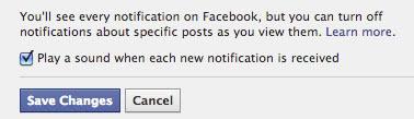 facebook sound notifications screenshot