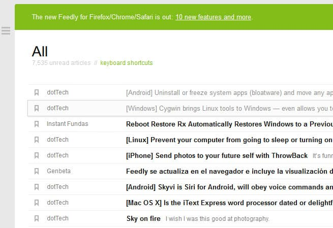feedly rss compact view