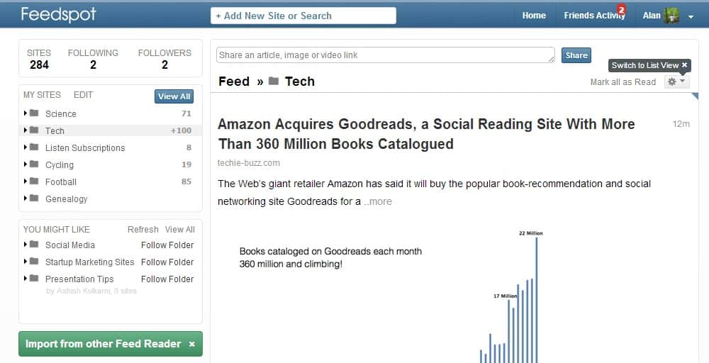 Feedspot is one more good Google Reader alternative - gHacks