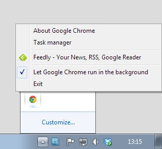 google chrome beta system tray
