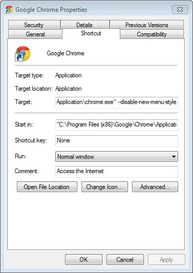 google chrome disable new menu