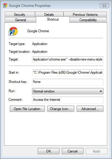 google chrome disable new menu