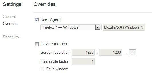google chrome overrides screenshot