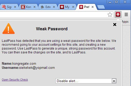 LastPass warns you now when you are using duplicate or weak password