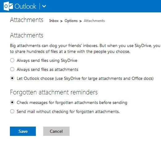 outlook.com attachments skydrive screenshot
