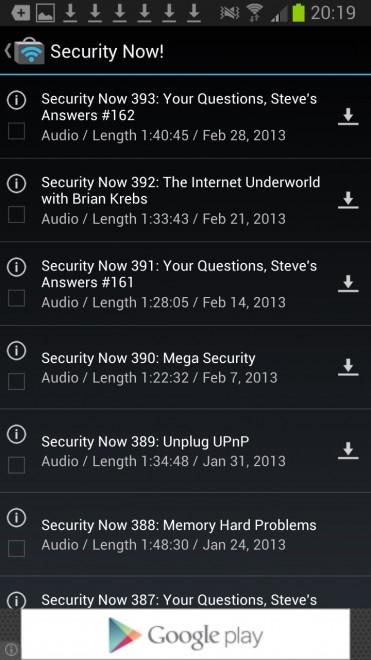 podcast episodes screenshot