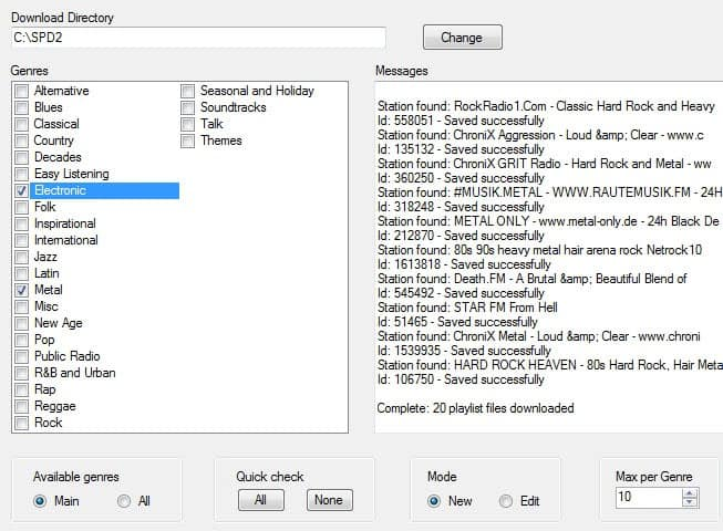shoutcast playlist downloader screenshot