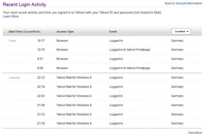 yahoo recent account security list