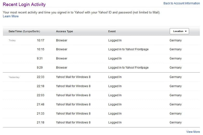 How To Check Your Recent Yahoo Login Activity Ghacks Tech News