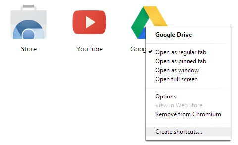 chrome create app shortcuts
