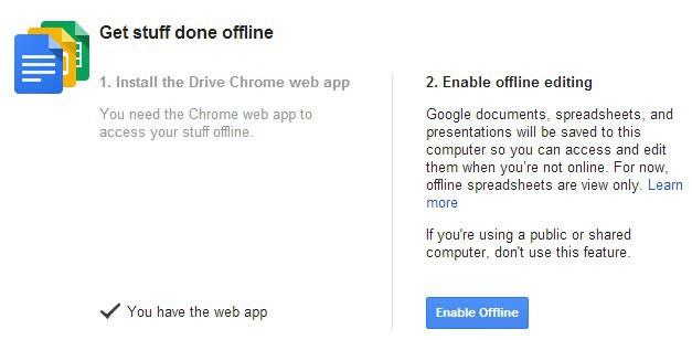 google drive offline access