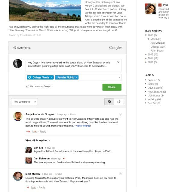 googleplus comments in blogger