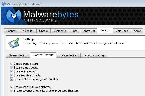 malwarebytes anti-malware archive scanning