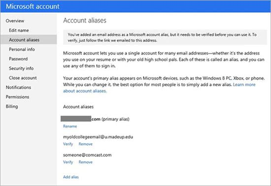 microsoft account aliases