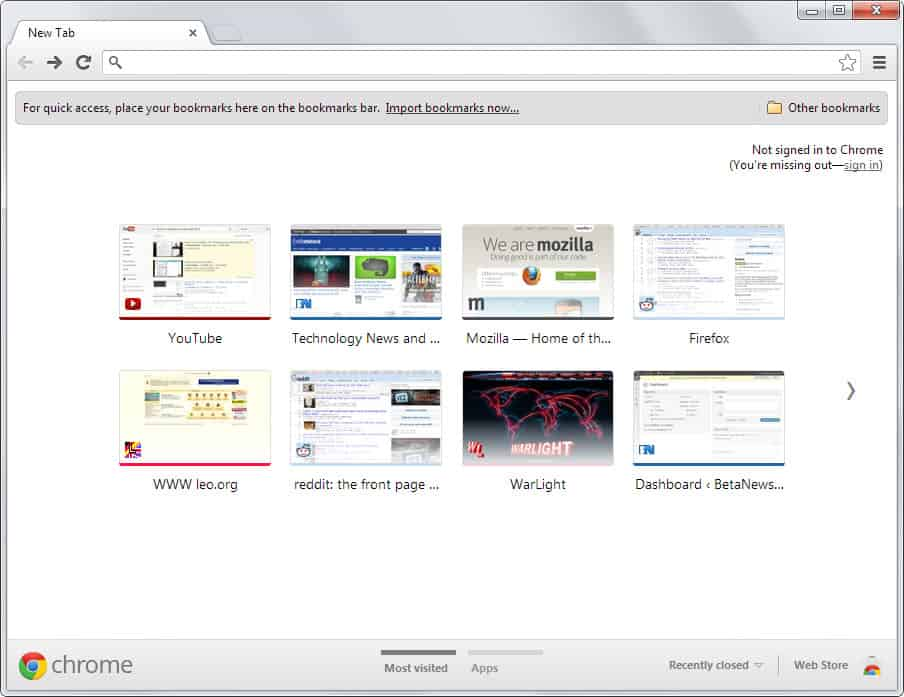 old google chrome new tab page with apps link