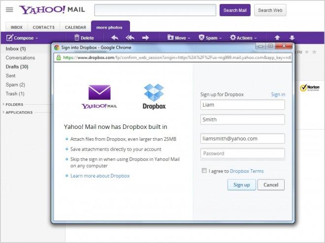 yahoo mail dropbox