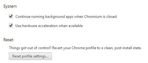 chrome reset profile settings