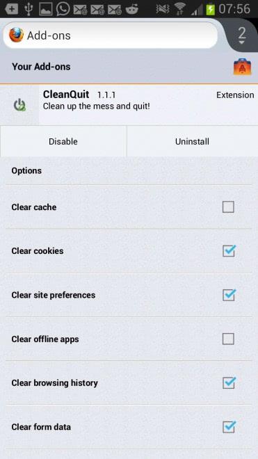 clean data firefox mobile