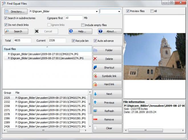 find equal files