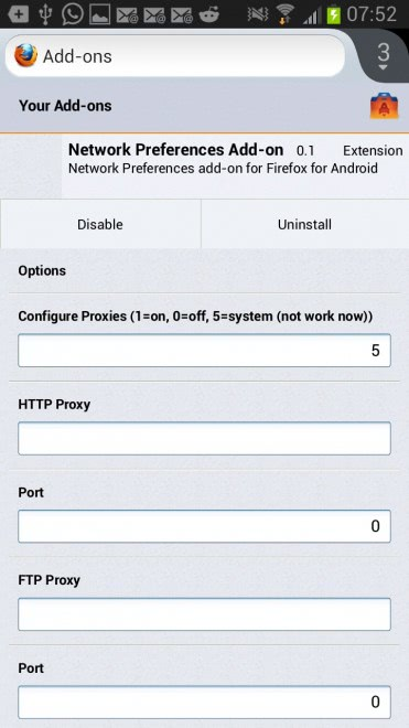 firefox mobile proxy configuration