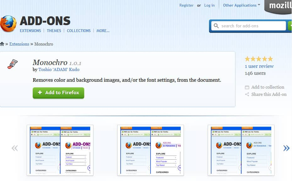 Monochro for Firefox fixes eye-hurting websites with its