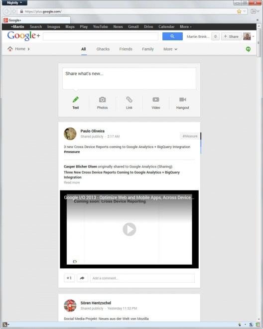 google plus one column layout