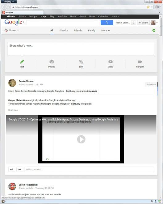 google plus wide layout