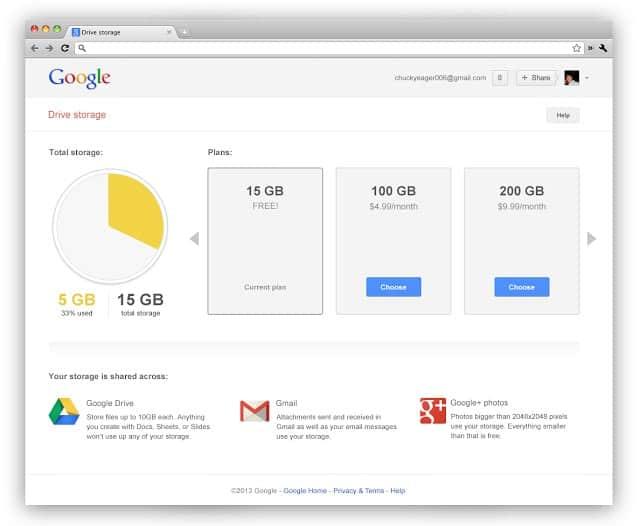 google storage gmail google drive googleplus