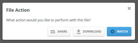 A file action prompt is displayed when you click on a video or audio file  on MediaFire. You get options to share or download the file just like  before 04dfc007019
