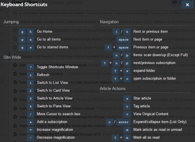 AOL Reader shortcuts
