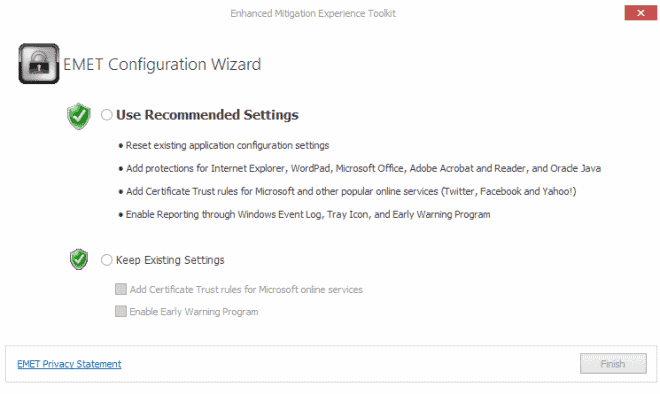 EMET configuration wizard