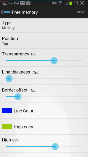 android display memory battery fullscreen