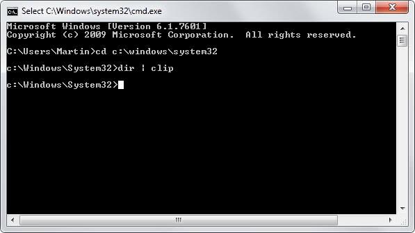 copy windows command prompt clipboard