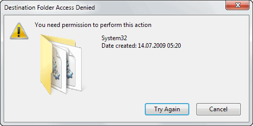 destination folder access denied 2