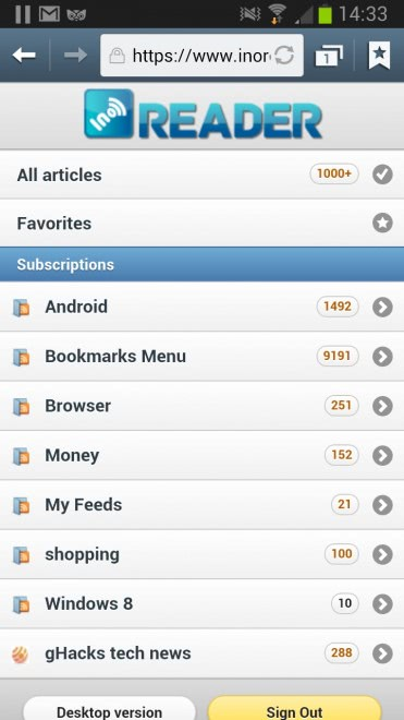 inoreader mobile rss