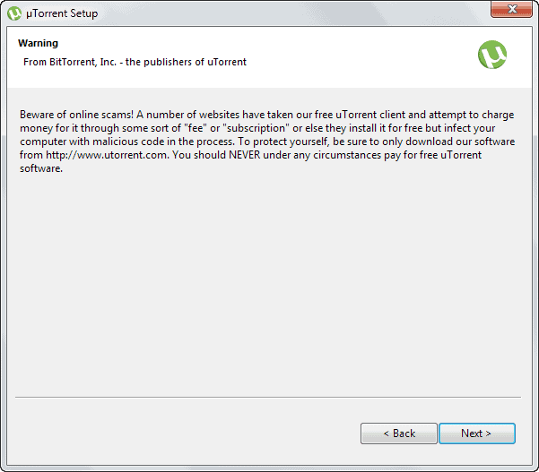 utorrent warning