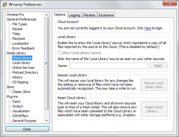 winamp cloud library