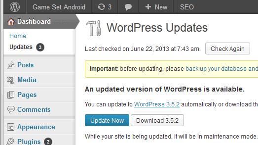 wordpress 3.5.2 update