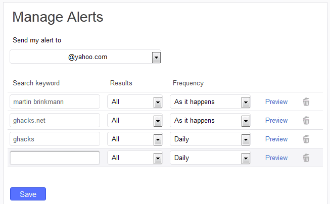 Yahoo turns off Search Alerts frontend, leaves users without management options