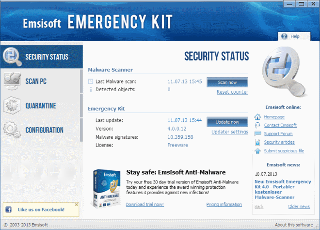emsisoft emergency kit 4