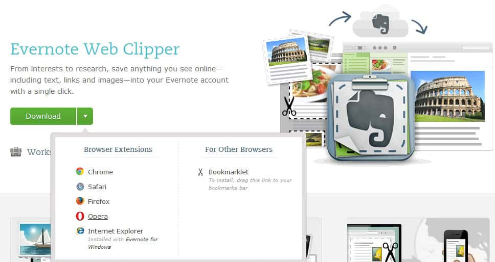 Evernote Web Clipper and Clearly arrive in Opera - gHacks Tech News