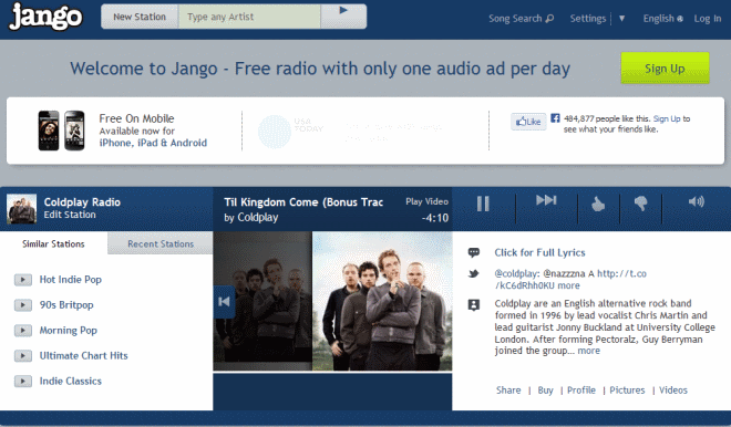 Jango Radio is like Pandora, but without the country