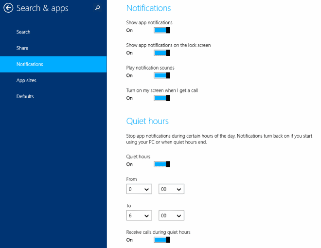 quiet hours windows 8 notifications