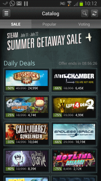 steam summer sale mobile apps