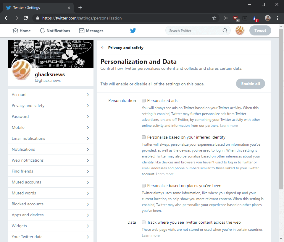 twitter tailored ads personalization data collecting