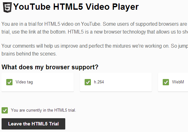 youtube html5 video player trial