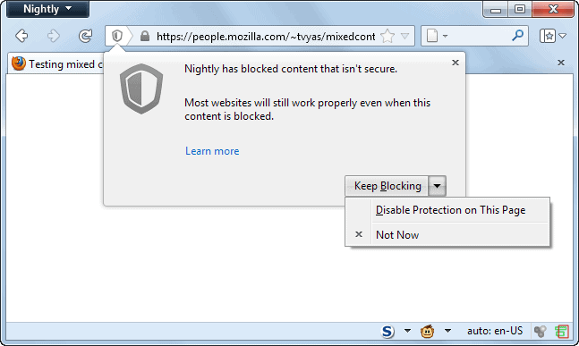 firefox disable mixed content protection