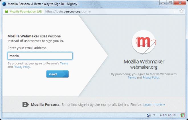 mozilla persona gmail integration