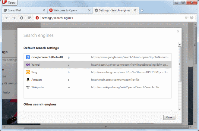 opera search engines