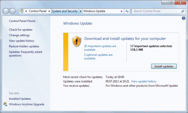 windows update august 2013